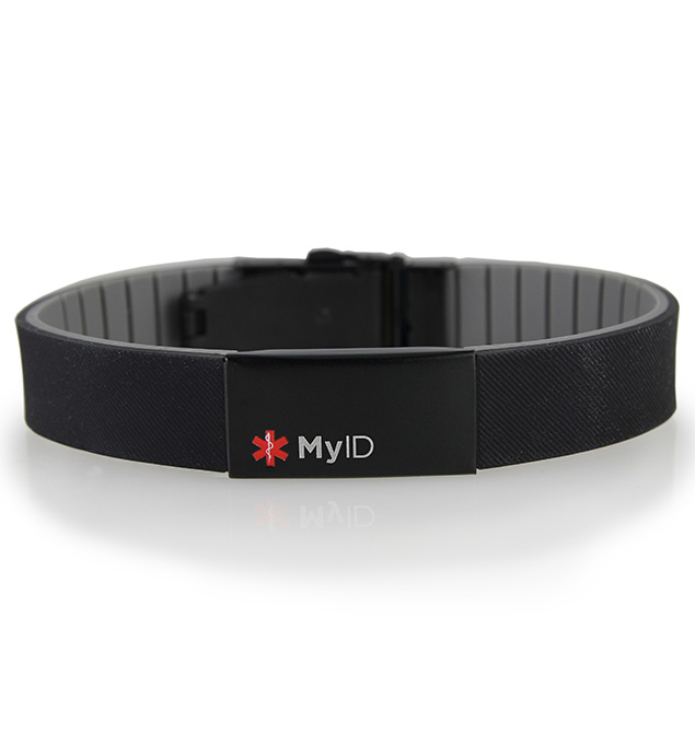 MyID Sleek Black Medical ID Bracelet