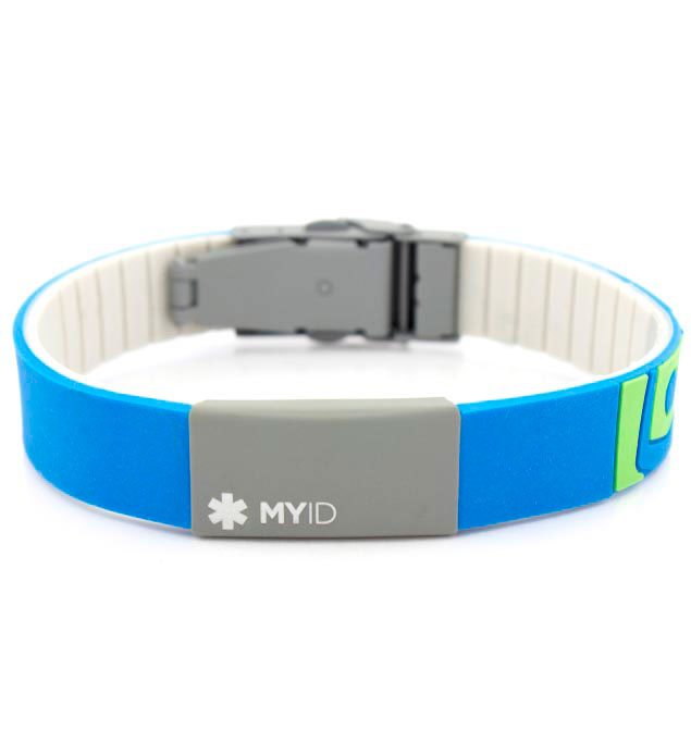 MyID Sleek Blue and Gray Medical ID Bracelet
