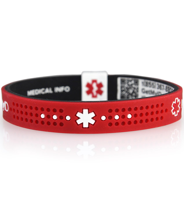 MyID Sport Red and Black Medical ID Bracelet