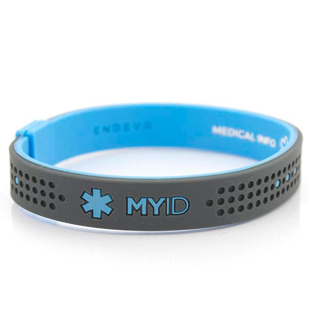MyID Sport Blue and Gray Medical ID Bracelet
