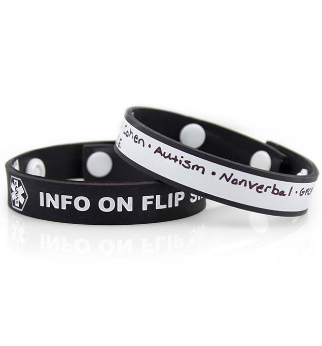 Black Write-On Medical ID Wristband