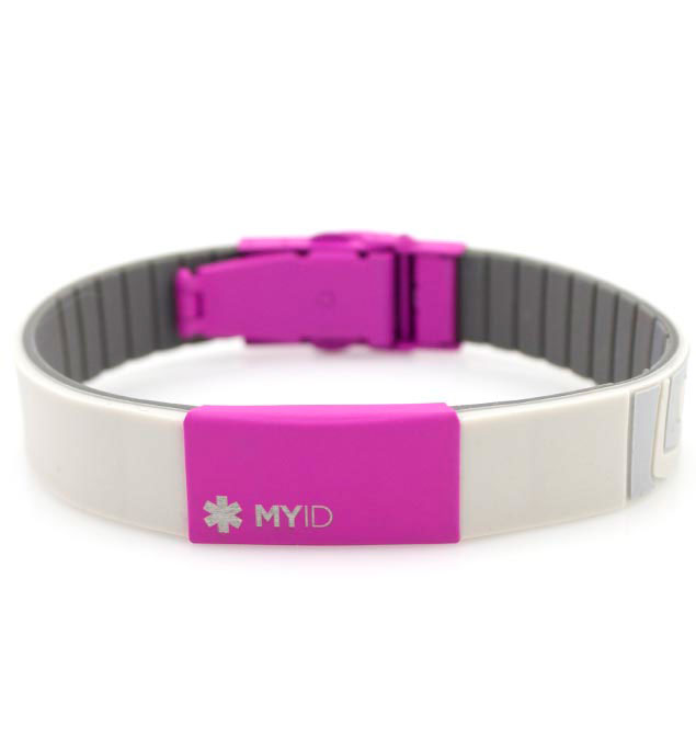 myID Sleek Pink and Gray Medical ID Bracelet