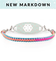 Brightly colored rainbow macrame medical bracelet for girls with lobster clasps for ID tag