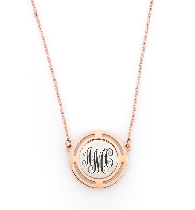 Compassion Rose Tone Monogram Necklace