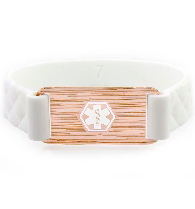 Rose Plate White Quilted ActiveWear Medical ID