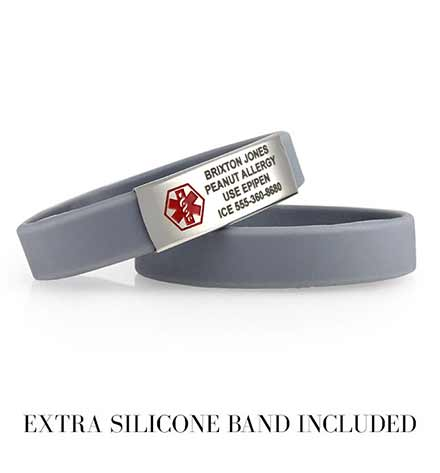Set of two charcoal grey silicone bands, one with a silver tone medical alert tag with sample engraving