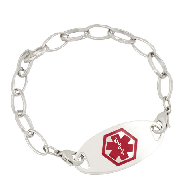 Stainless Faceted Link Medical ID Bracelet with tag