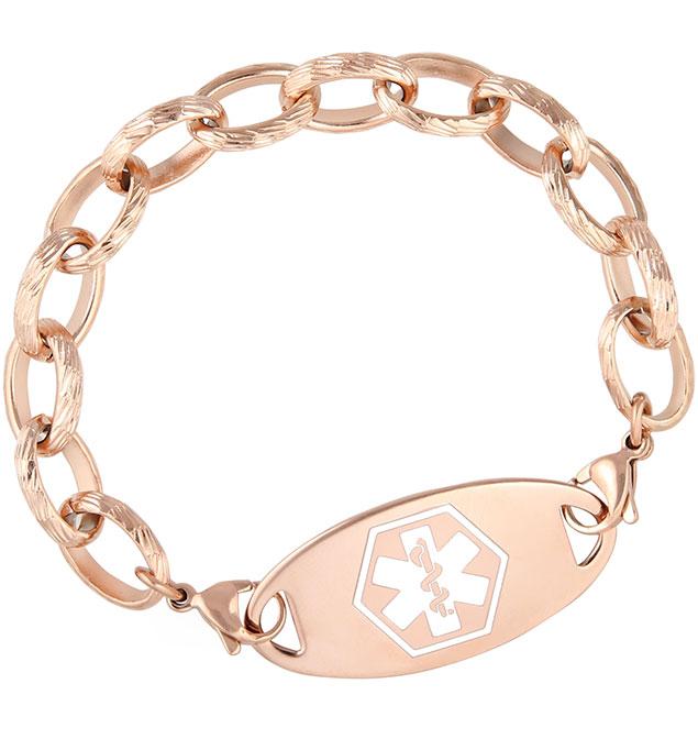Rose Gold Tone Textured Link Medical ID Bracelet