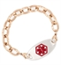 Rose Gold Tone Textured Link Medical ID Bracelet with tag