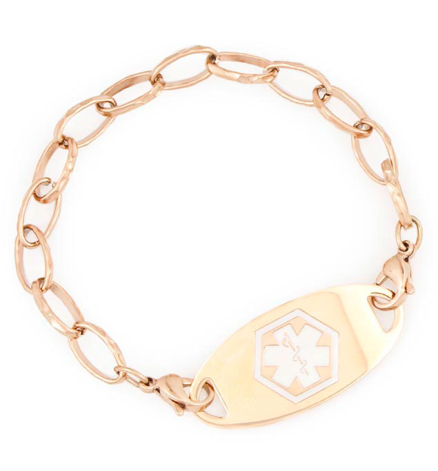 Rose Gold Tone Faceted Link Medical ID Bracelet with tag