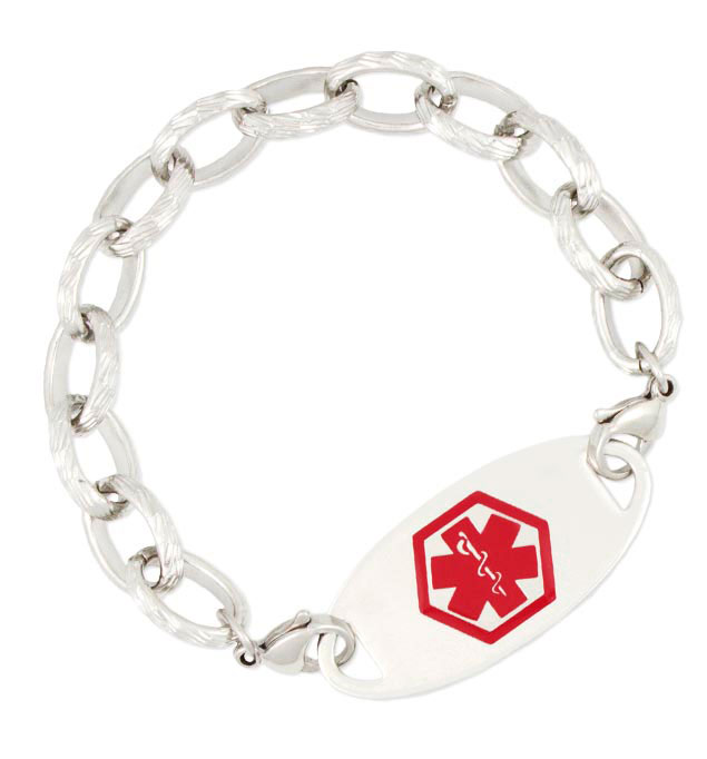 Stainless Textured Link Medical ID Bracelet with tag