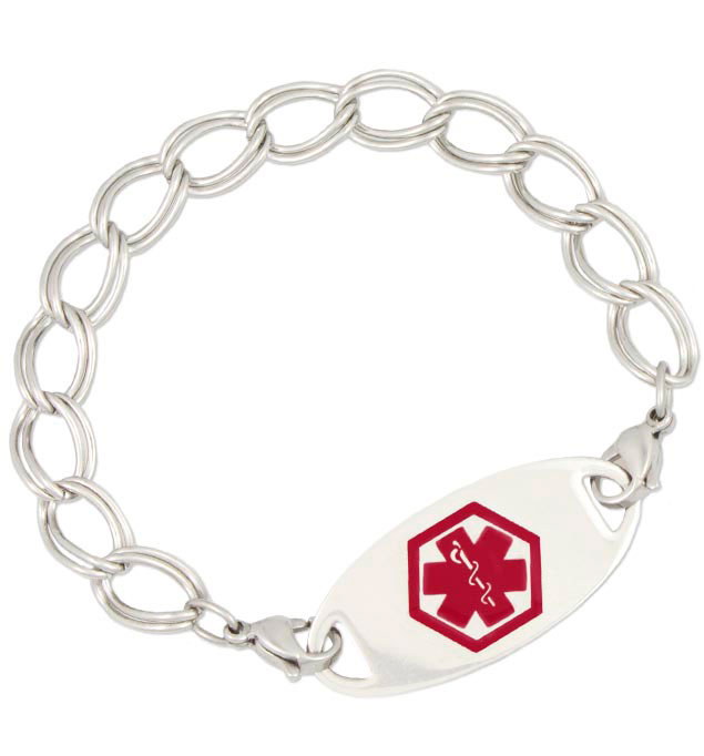 Stainless Double Link Medical ID Bracelet with tag