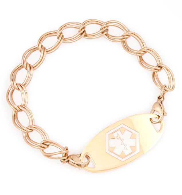 Rose Gold Tone Double Link Medical ID Bracelet with tag