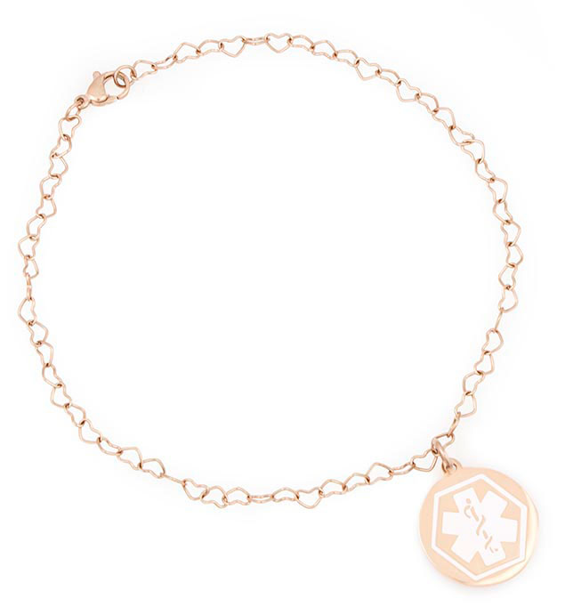 Rose Gold Tone Boardwalk Medical ID Ankle Bracelet