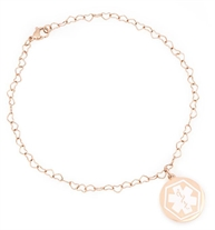 Rose Gold Tone Boardwalk Medical ID Ankle Bracelet with open-heart link chain and ¾ inch diameter charm with white caduceus
