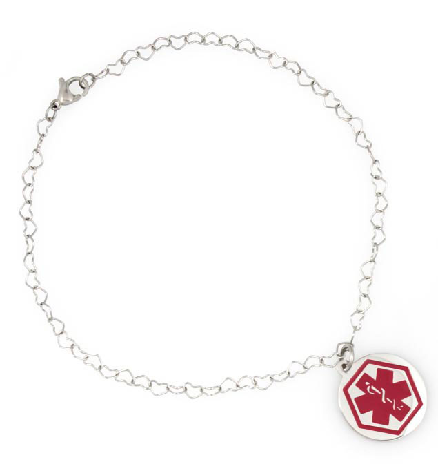 Boardwalk Medical ID Ankle Bracelet. Silver tone stainless heart-shaped links and stainless round charm with red caduceus