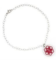 Small stainless steel heart-link chain anklet with dangling circular medical alert charm with red symbol