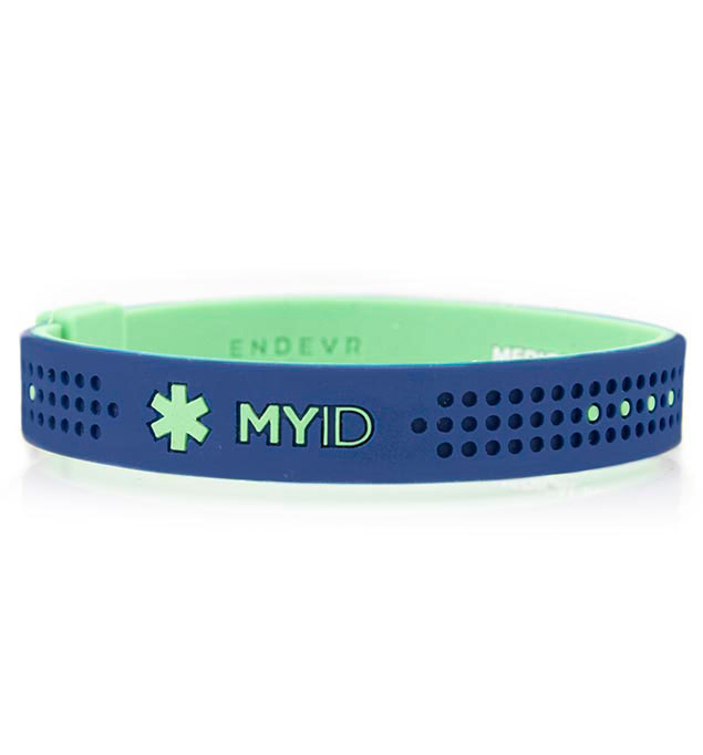 MyID Sport Blue and Turquoise Medical ID Bracelet
