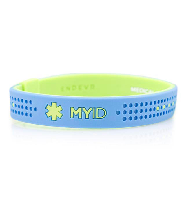 MyID Sport Blue and Green Medical ID Bracelet