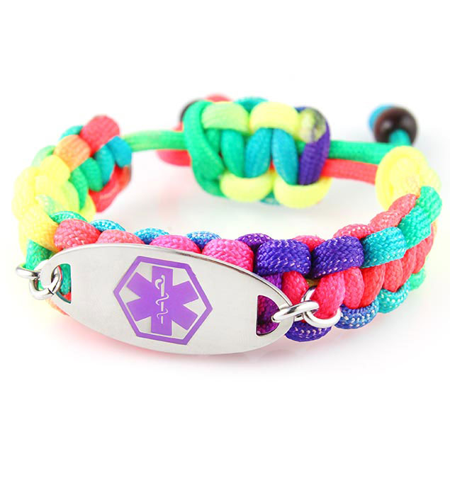 Rainbow Fun Paracord Medical ID Bracelet