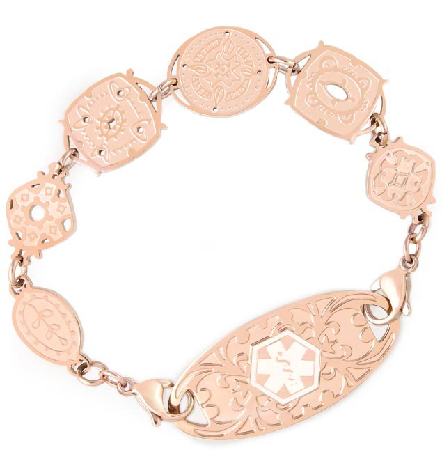 Rose Gold Tone Treasure Trove Medical ID Bracelet