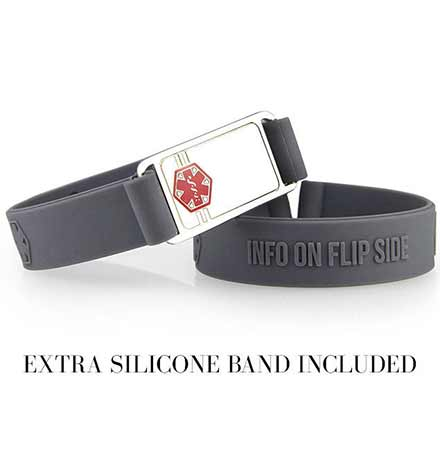 "Two 1/2"" charcoal silicone bands. One with 1-3/8"" x 3/4"" silver tone stainless Med ID tag, red caduceus. No tag on extra band"