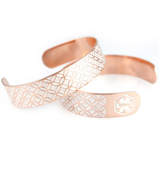 Rose Gold Tone Dorothy Medical ID Cuff