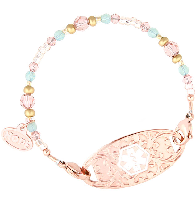 Lucy Medical ID Bracelet. One strand of pink, rose, mint crystals, Hope Charm, rose tone lobster clasps, and rose med ID tag