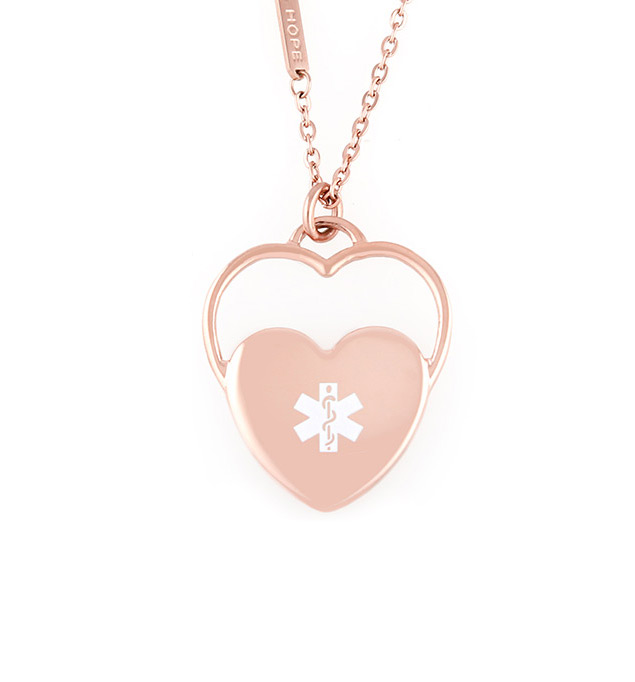 Womens medical id alert necklaces laurens hope rose gold tone double heart necklace laurens hope mozeypictures Images