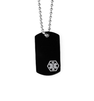 Small black medical alert dog tag with grey medical symbol at bottom, on stainless steel ball chain