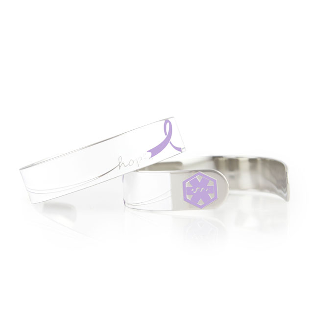 "2 Purple Hope Medical ID Cuffs showing front and back of 1/2"" wide cuff with white background and purple caduceus each end"