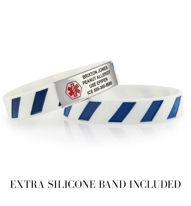 White silicone bands with blue stripes attach to a slim stainless steel ID tag with red medical symbol.