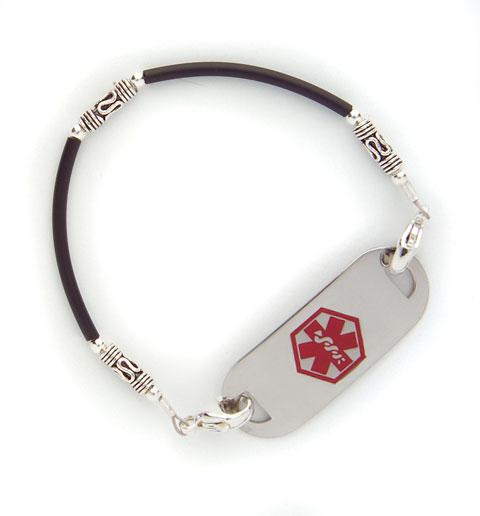 Black Tube w/ Silver Medical ID Bracelet