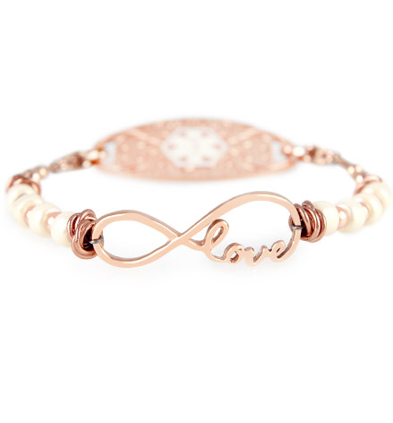 Malinda Medical ID Bracelet with Rose Gold Tone Gardenia Medical ID Tag