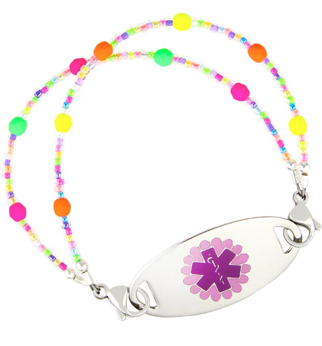 Confetti Sprinkles Medical ID Bracelet with Purple Daisy Medical ID Tag