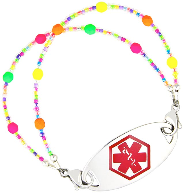 Confetti Sprinkles Medical ID Bracelet with Red Oval Medical ID Tag