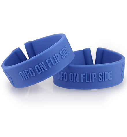 Sporty, royal blue silicone replacement bands that can be used alongside an ActiveWear tag.
