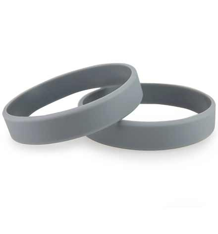 Charcoal ActiveWear Slim Medical ID Bracelet. 2 silicone circle bands. Can add a  stainless plaque with red or white caduceus