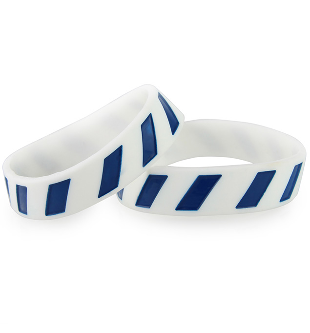 Set of 2 white silicone bands with diagonal navy stripes. Can be used with an ActiveWear Slim tag.