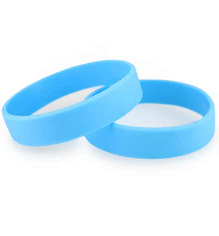 Two Light Blue ActiveWear Slim Medical ID Bracelets. Two half-inch wide round silicone bracelets for a medical alert plaque