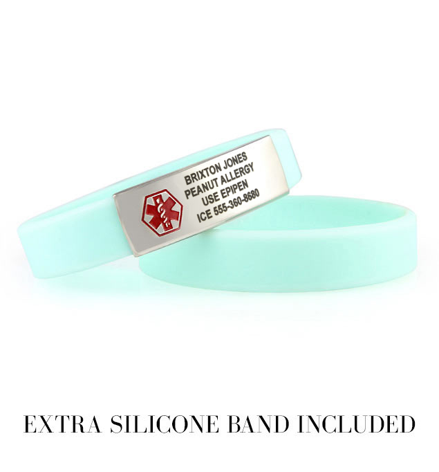 Sky blue silicone bands that pair with our activewear slim medical ID tag