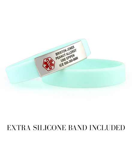2 Sky Blue ActiveWear Slim Medical ID Bracelets. 2 round silicone bands, one stainless plaque with red caduceus and engraving
