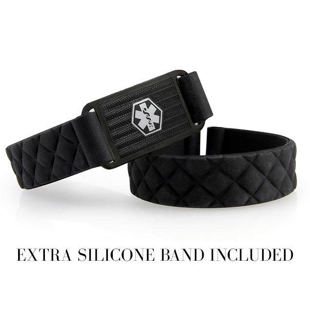"1/2"" black quilted silicone band. 1-3/8"" x 3/4"" black patterned stainless Med ID tag with white caduceus. Extra silicone band"