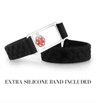 "1/2"" black quilted silicone band with 1-3/8"" x 3/4"" silver tone stainless Med ID tag with red caduceus. Extra silicone band"