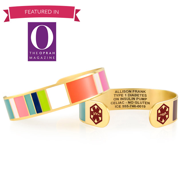 Featured in the Oprah Magazine, the Key West Medical ID Cuff. Color-blocks, red caduceus each end with yellow gold background