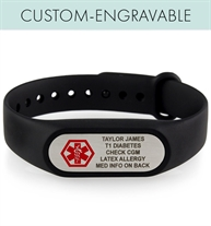 Black silicone activewear band with silver tone Tech ID engraved alert tag