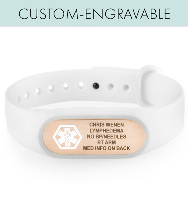 Front of SportFit Tech Med ID Band in White and sample custom engraving on rose gold tone medical ID tag with white caduceus