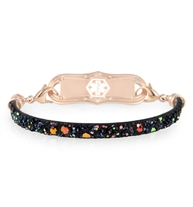 Slim, flat, black mix and match bracelet with sparkles attached to a coordinating rose tone medical alert tag.