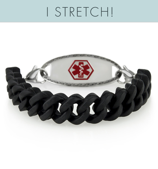 "Par For The Course Medical ID Bracelet, a black silicone band with the oval border med ID tag and the words, ""I STRETCH"""