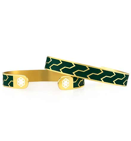 Ziza Mini Med ID Cuff in Forest and Gold